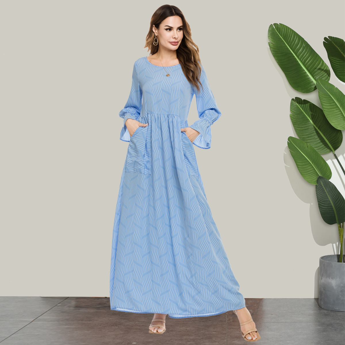 Muslim Women Dress Flare Sleeve Pockets A-line Abaya Dresses Blue UAE Moroccan Kaftan Islamic Clothing Big Swing Plus Size Robe