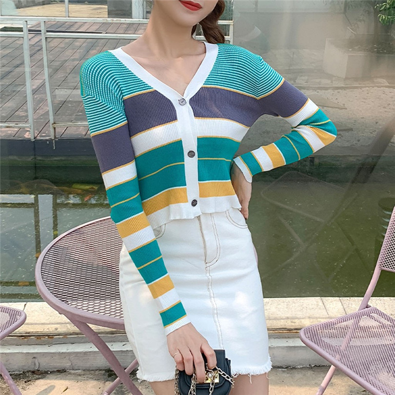 Striped Cardigan Women Ctop Top Long Sleeve Sweater V Neck Sexy Cardigan Knitting One Size Pull Femme Nouveaute 40OCT1619