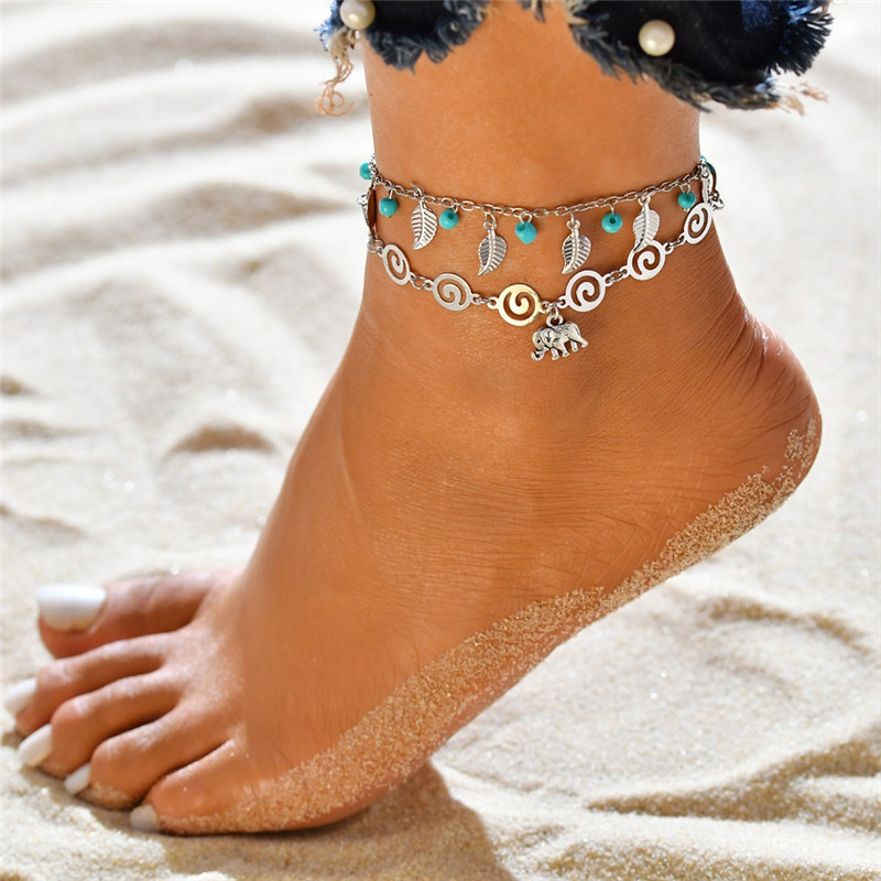 Modyle Bohemia Elephant Leaves Beads Foot Anklets Bracelet for Leg For Women Boho Fashion Summer Beach Men Anklet Jewelry