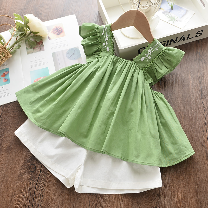 Kids Girls Clothing Sets Summer New Style Brand  Baby Girls Clothes short Sleeve T-Shirt+Pant Dress 2Pcs Children Clothes Suits 4