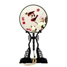 Peach Flower Fan 1 PCS Home Decoration Hand Rose Buttgerfly Peony Embroidery Silk Folding Round Handicraft Gift