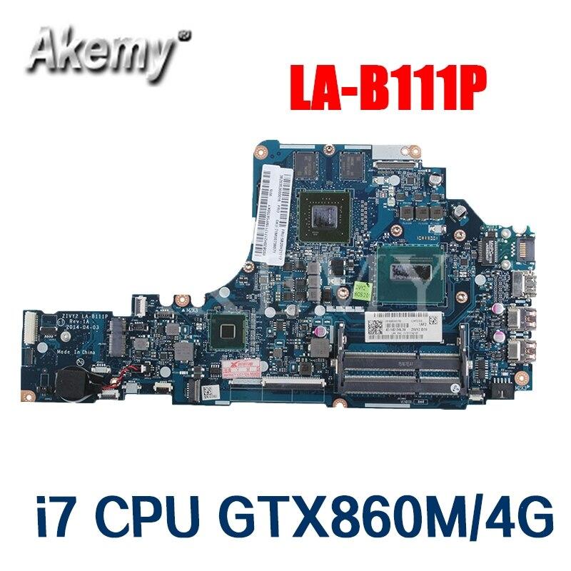 Akemy ZIVY2 LA-B111P Motherboard For Lenovo Y50-70 Y50P Y50 LA-B111P Laotop Mainboard With I7-4720HQ GTX860M/4G