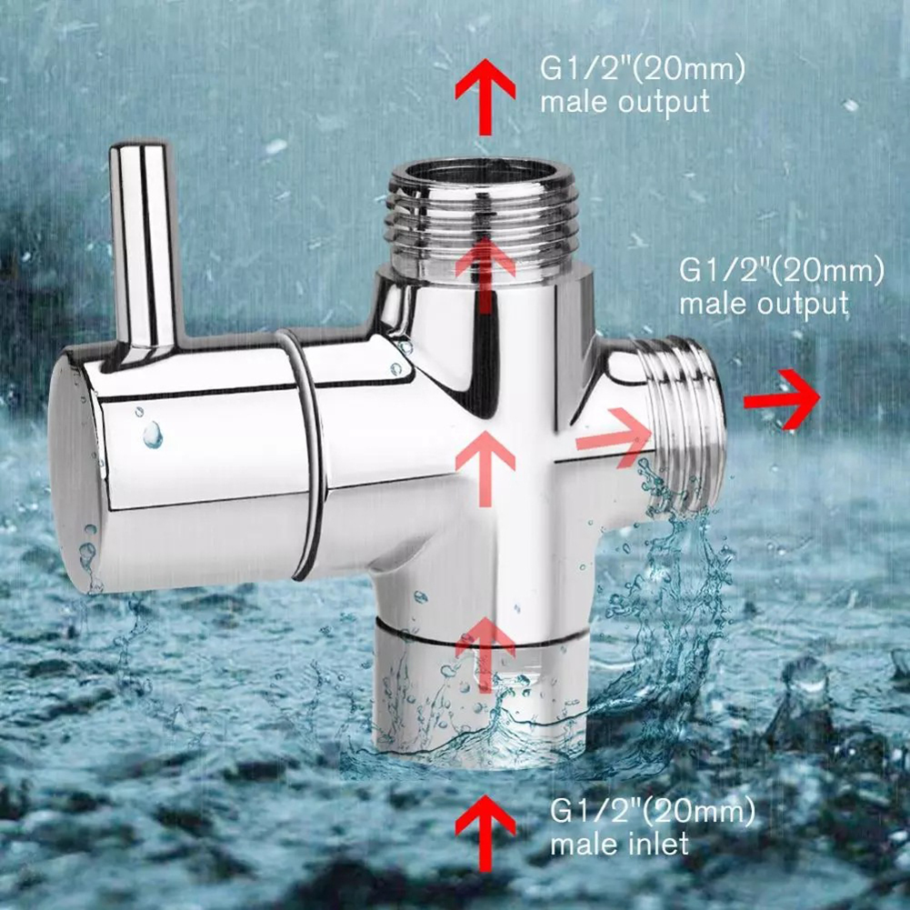 Valve Head faucet Bathroom Accessories Water Separator Switch Adapter Control 1/2 3 Way Connector Shower Diverter 5