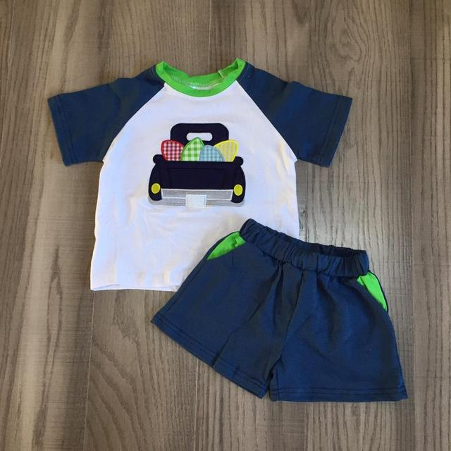 new arrivals Easter Summer baby boys navy truck eggs children clothes shorts set outfits boutique