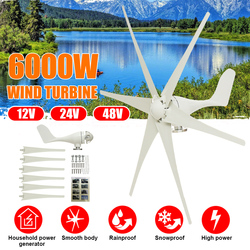 6000W 12V/24V/48V 6 Klingen Horizontale Wind Generator Wind Turbinen Generator Windmühle Energie turbinen Ladung für Home Camping