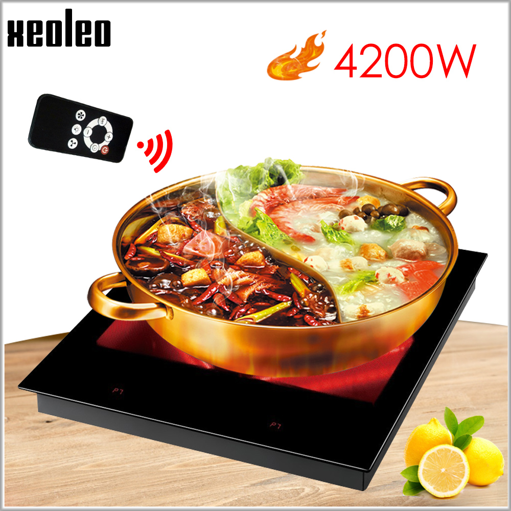 XEOLEO Built-in Electric Ceramic Cooker Household Induction Cooker 4200W Touchpad Electric Hob Single Cooker 220V With Timing