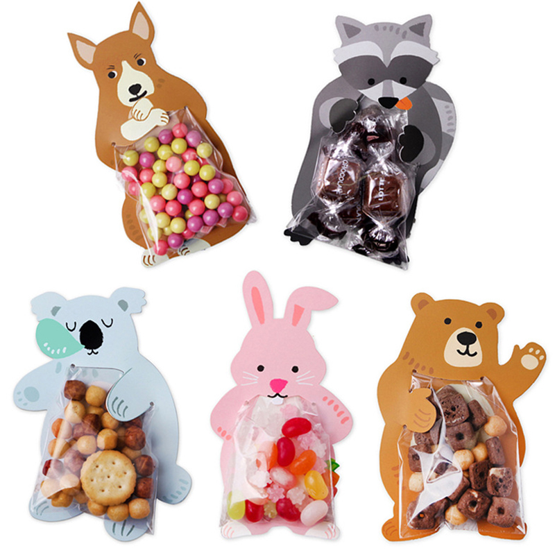 10 Pcs Cute Cartoon Bear Candy Bag Cute Cartoon Animal Birthday Party Cute Gift Bag Wedding Birthday Party Candy Cookie Gift Bag