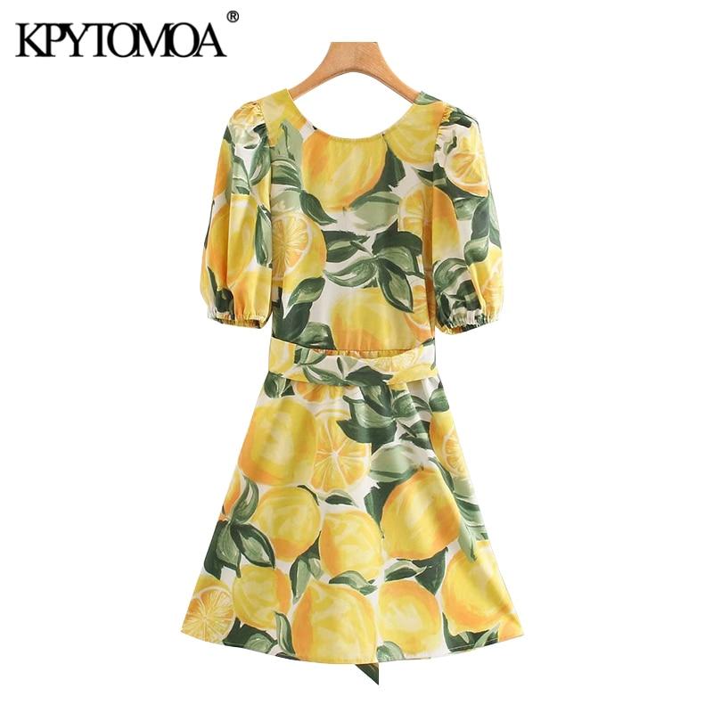 KPYTOMOA Women 2020 Chic Fashion Fruit Print With Belt Mini Dress Vintage Bacless Puff Sleeves Female Dresses Vestidos Mujer