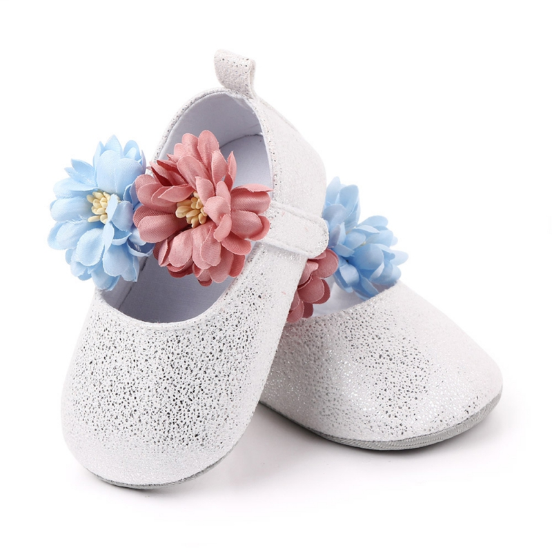 Newborn Infant Baby Girl Spring Shoes Soft Sole Crib Shoes Prewalker Toddler Anti-Slip Cute Flowers T Tied First Walkers