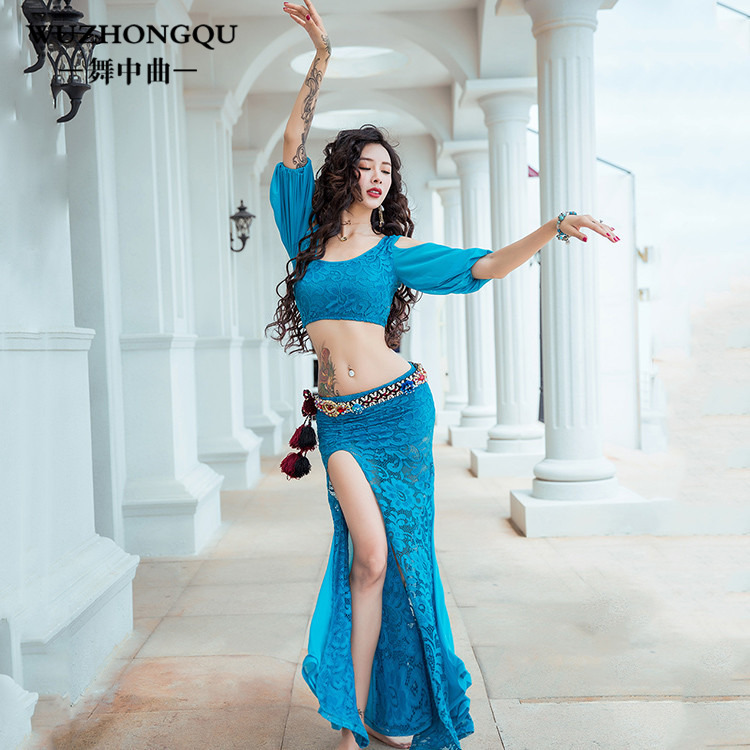 Woman Belly Dance Practice Clothes New Skirt set  Adult Oriental Indian Dancing Beginner Dancer Group Performance Wear WD02