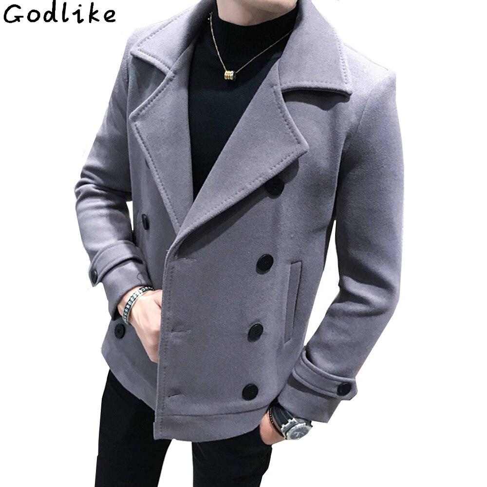 New Autumn Winter Men's Short Woolen Coat Double-breasted Design Business Casual Man Warmth Overcoat Windbreaker Large Size 5XL