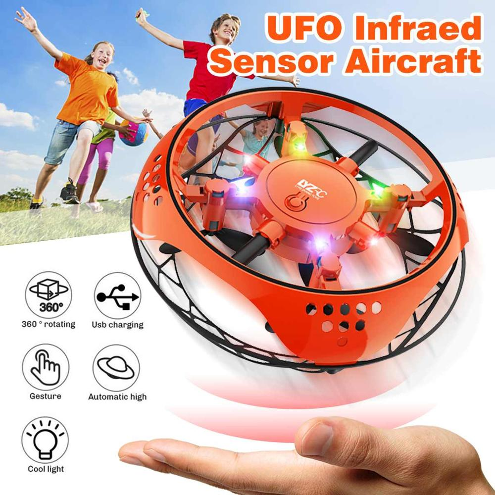 Muwanzhi Mini Flying Helicopter UFO RC Drone Hand Sensing Aircraft With 6 LED Lights Electronic Quadcopter Flayaball Toy For Kid
