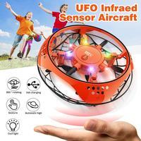 Muwanzhi Mini elicottero volante UFO RC Drone aereo a rilevamento manuale con 6 luci a LED Quadcopter elettronico flayaball giocattolo per bambini