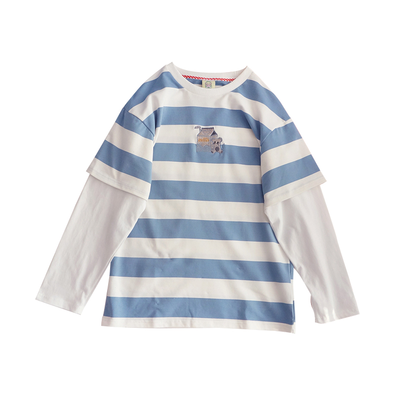 Harajuku Kawaii T Shirt Womens Clothing Cute Cartoon Embroidery Long Sleeve Tee Shirt Japanese Vintage Stripe Top Female T-shirt