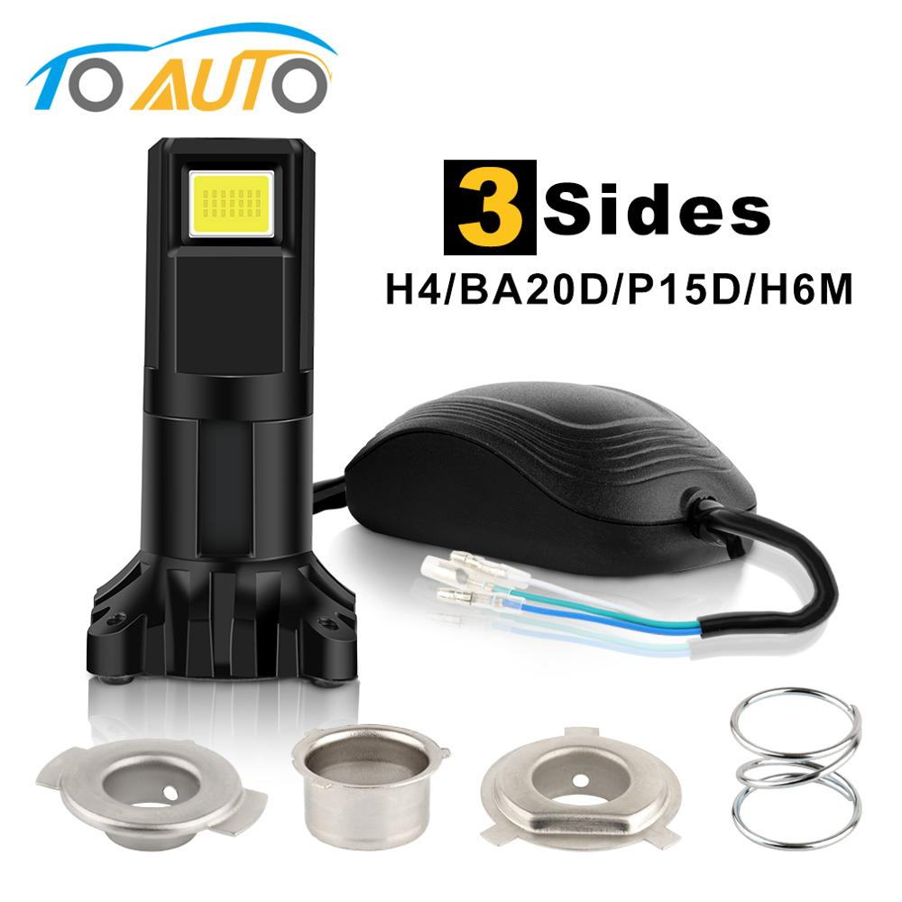 H4 BA20D P15D H6M LED Motorcycle Headlight Bulbs 3 Sides LED Light With Changable Socket Scotor Lamp Moto Bike Accessories