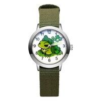 Kinder Niedlichen Cartoon Frosch Stil Student Junge Mädchen Leder Nylon Stahlband Quarz Handgelenk Uhren JA181