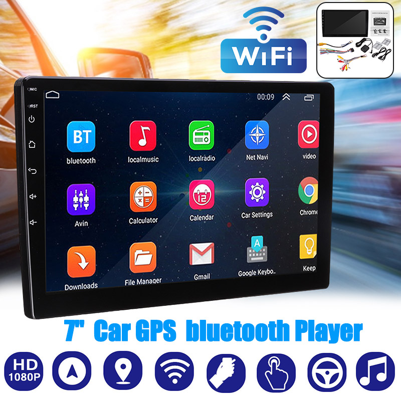 Car GPS Navigation Bluetooth WIFI Satnav 7--Inch Transmitter Android8.1 16GB AV-IN 1080P title=