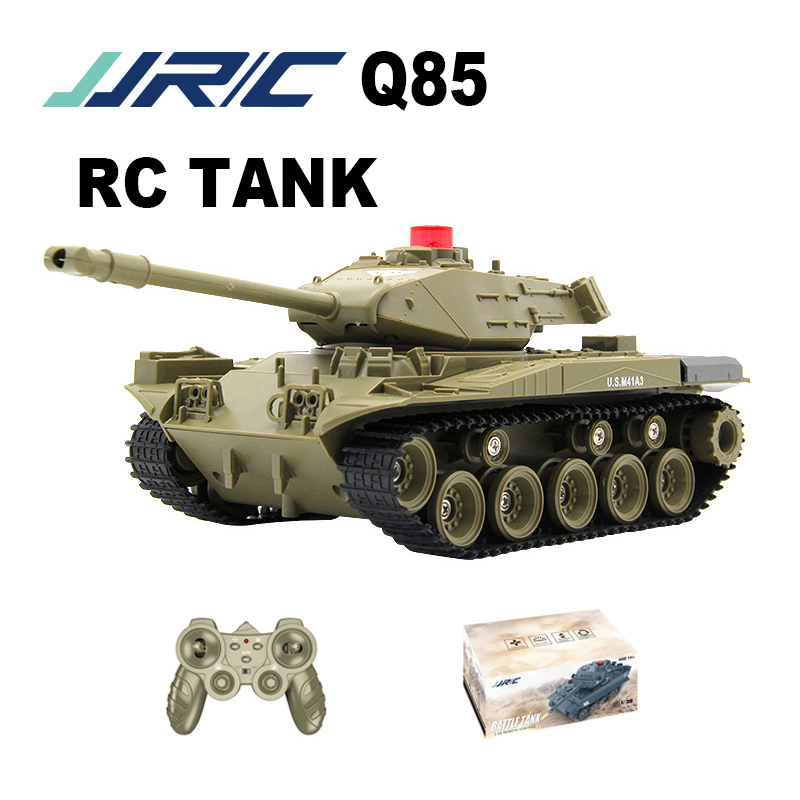 JJRC RC Tank 1 16 Charger Battle Launch Military Tracked Remote Control Vehicle Model Hobby Kids Toys Gift RC Tanks Q85 Metal 3C
