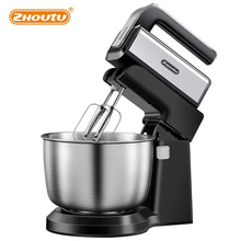 Zhoutu 2 in 1 Stand Mixer, 5 Speeds Electric Mixer Hand Mixer with 3.5L Stainless Steel Mixing Bowl, Whisk Beaters & Dough Hooks