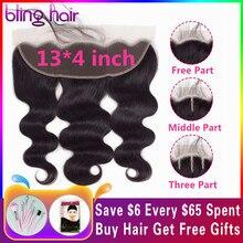 Шикарные волосы Кружева Фронтальная застежка бразильские волнистые волосы, для придания объема 13x4 часть Remy человеческие волосы с натуральный Цвет