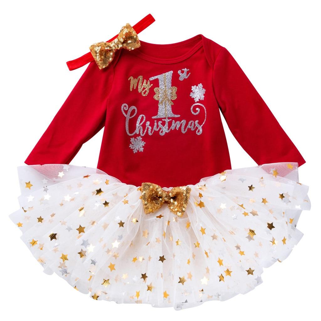 US Newborn Baby Infant Girls Christmas Xmas Romper Headband Tutu Dress Outfit
