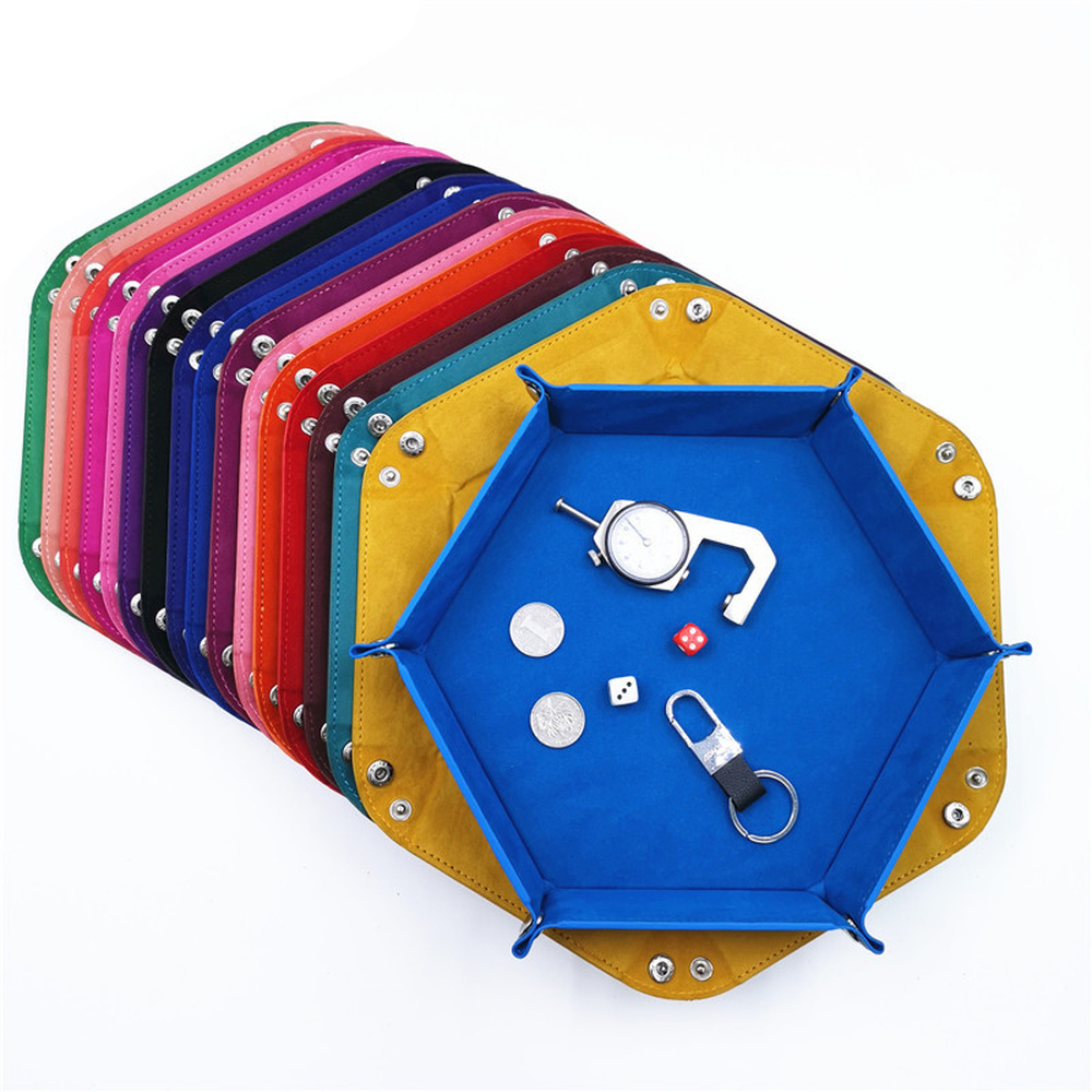 Hexagon PU Leather  Foldable Dice Trays Velvet Cloth Tray for Dice Table Games Desktop Decorative Storage Box Tray 18*18cm