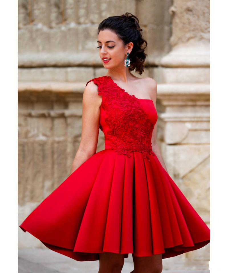 2019 Short Red   Cocktail     Dresses   A Line Homecoming Party   Dresses   For Girls With Lace Appliques One Shoulder Graduation Gowns