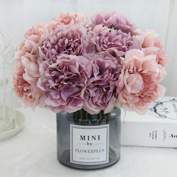 HMEOT Artificial Flower Peony Bridal Bouquet Home Decor For wedding bouquet Bed Room Silk Faux Fake Flowers Gifts Wholesale Rose