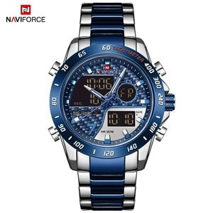 Image 5 - Mens Watches NAVIFORCE Waterproof Military Sports Quartz Full Steel Digital LED Wrist Watch Clock Male Relogio Masculino 2020
