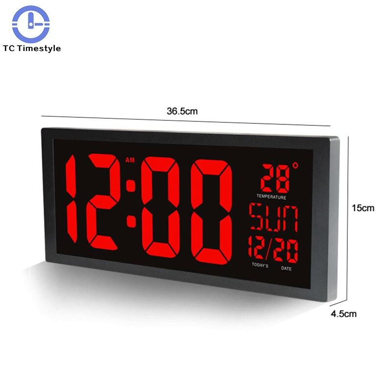 Horloge murale électronique grand écran LED horloges avec calendrier thermomètre semaine électronique numérique mur/bureau horloge de la maison décorer
