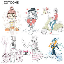ZOTOONE A-level Washable Fashion Girl Vinyl Ironing Clothes Stickers Heat Transfers Iron on Patches for Clothing DIY Appliques S zotoone printed drink beer heat transfers vinyl ironing clothes stickers iron on patches for clothing diy cocktail appliques e