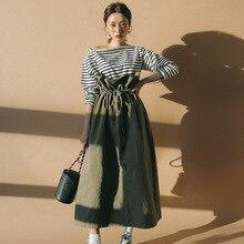 LANMREM 2020 새로운 패턴 순수 코튼 그린 와이드 롱 스커트 프릴 하이 웨스트 레이스 업 Pleated 여성 패션 한국 하의 WA927