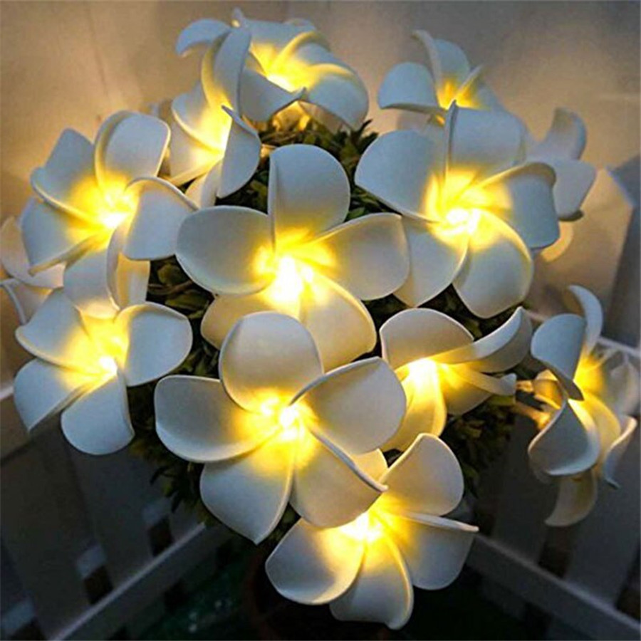 Thrisdar 10/20/30 LED Artificial Plumeria Fower Led String Christmas Light Battery Operated Wedding Party Fairy Garland Light
