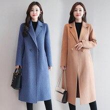 Abrigo rojo de Cachemira de cuadros para mujer, abrigo de invierno de lana coreana, Tops y blusas para mujer, moda de talla grande, chaqueta para mujer B108
