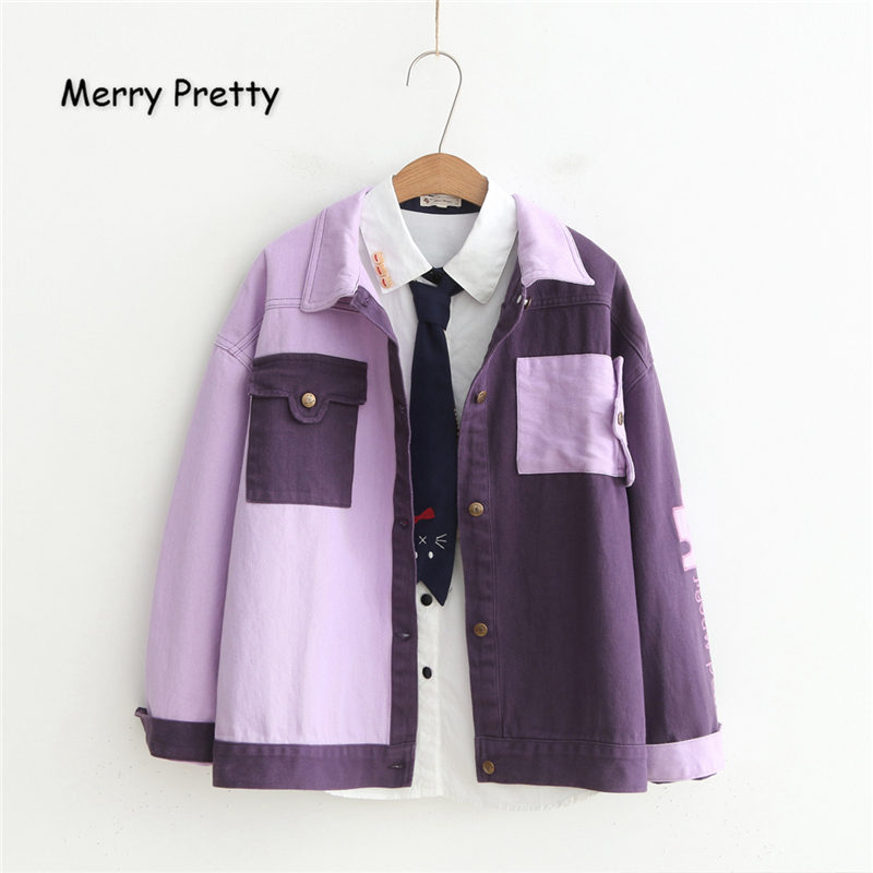 Merry Pretty Women Letter Embroidery   Basic     Jackets   Winter Long Sleeve Patchwork Pockets Vintage Denim   Jackets   Outerwear Coats