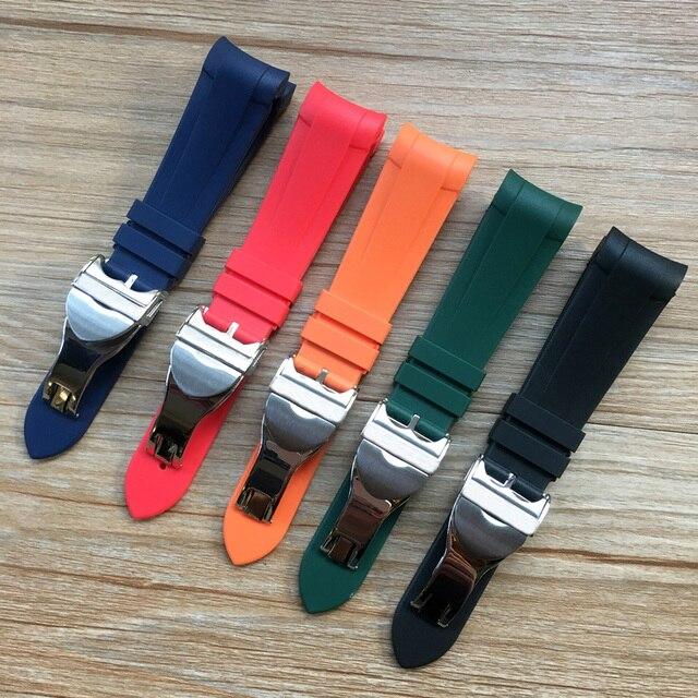 22mm Zwart Blauw Rood Oranje Groen Gebogen End Zachte Siliconen Rubber Horloge Band Band met Zilveren Sluiting Voor tudor