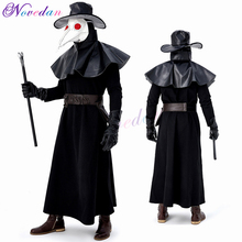 Plague Doctor Mask Birds Long Nose Beak Faux Leather Full Cosplay Costume Set Party Halloween For Men Adult