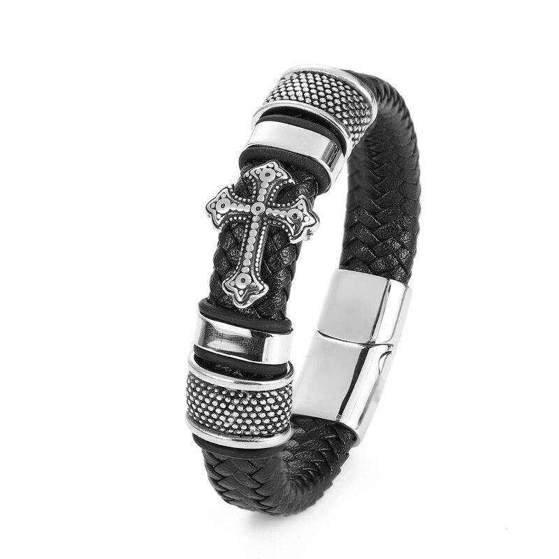 Bracelets croisés en acier inoxydable pour hommes, Bracelet Chakra en cuir noir/Brwon tressé multicouche, à la mode, vente en gros 5