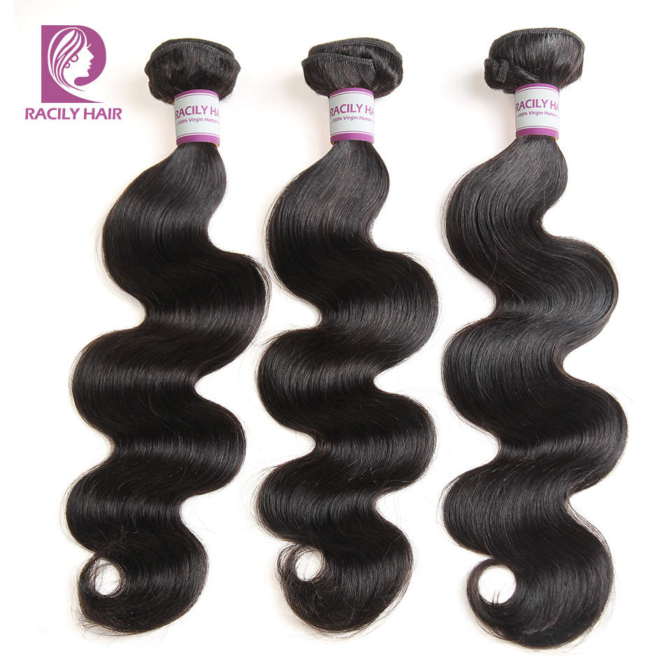 Racily Hair 1/3/4 Pcs Peruvian Body Wave Hair Bundles 100% Human Hair Extension Natural Black Remy Hair Weave 8-28 Inches Bundle