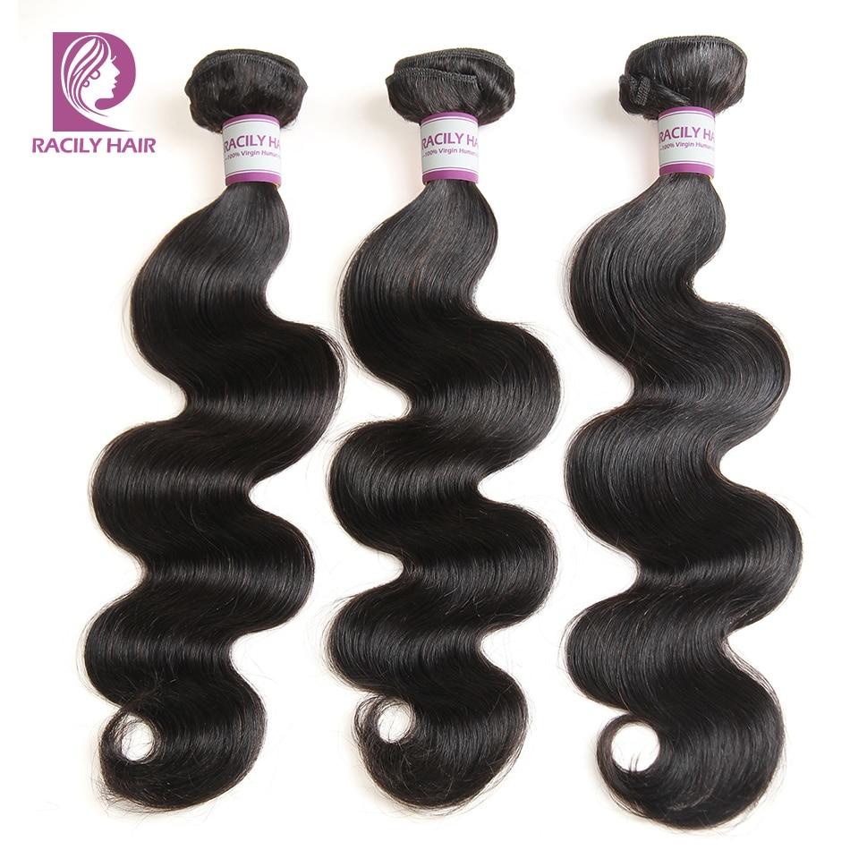 Racily Hair 1/3/4 Pcs Peruvian Body Wave Hair Bundles 100% Human Hair Extension Natural Black Remy Hair Weave 8-28 Inches Bundle