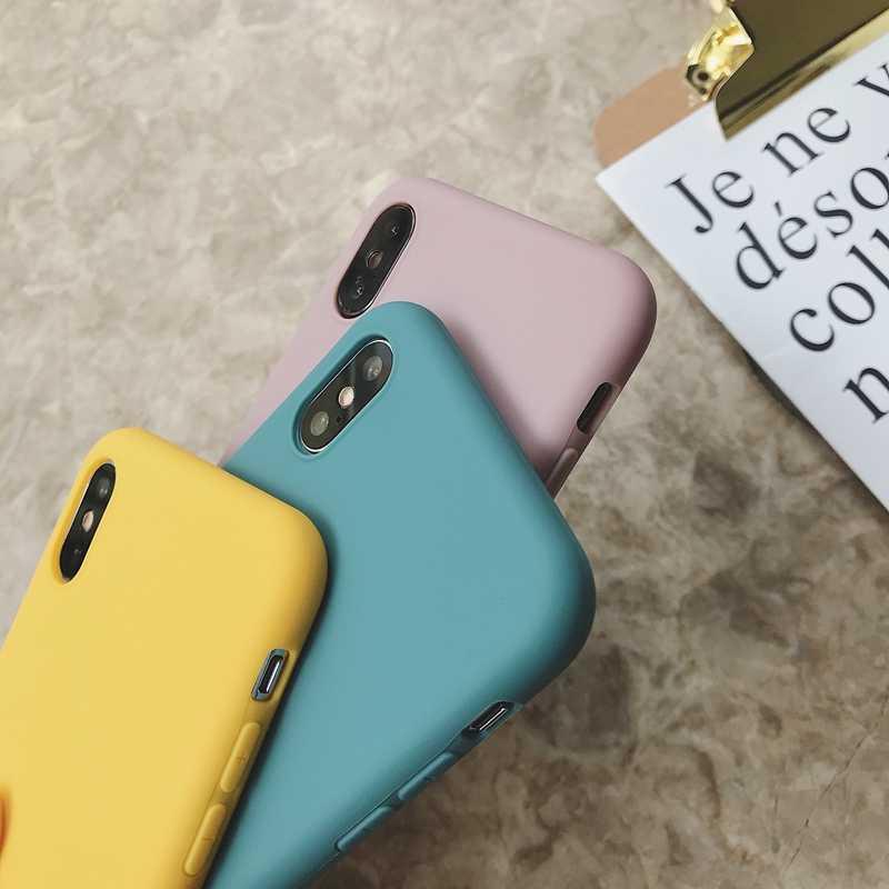 סיליקון מקרה עבור iPhone 11 פרו מקסימום מקרה רך TPU חזרה מט צבע טלפון מקרי Coque iPhone 6 7 8 בתוספת 6S XS Max XR X Etui