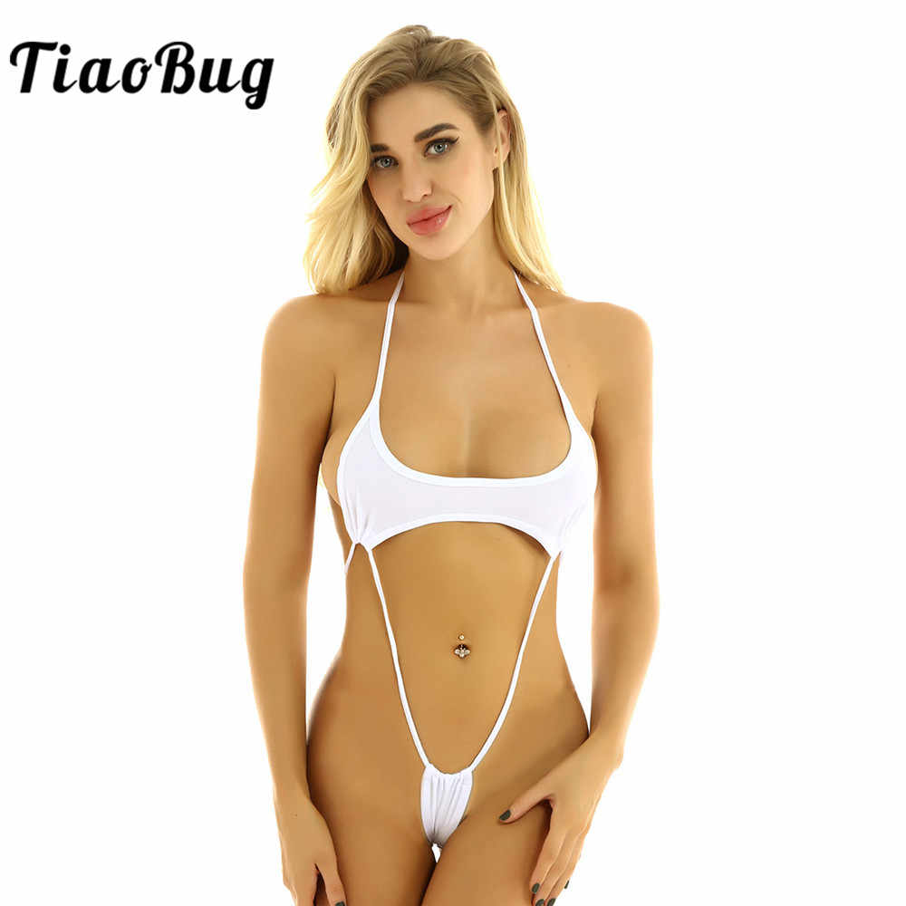 CHICTRY Womens 2 Piece Micro Bikini Halter Neck Swimsuit Hollow Out Bathing Suit with Bandage G String