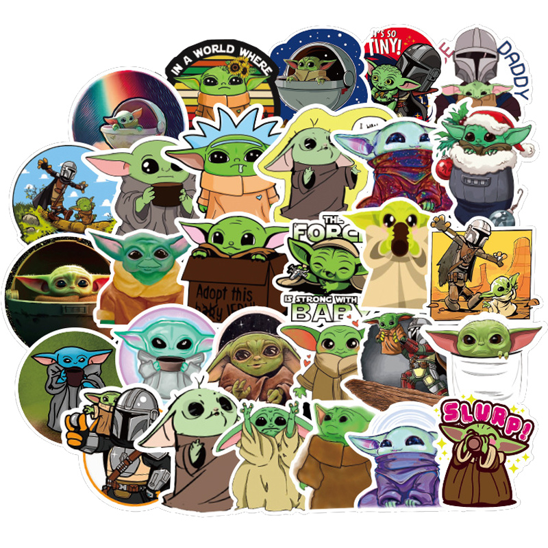 50pcs/pack Star Wars Cute Cartoon Baby Yoda Sticker Decal The Mandalorian For Child Kid Luggage Laptop Skateboard Toy Stickers
