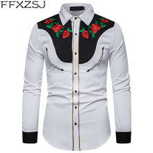Men's Rose Flower Embroidery Western Shirt Mexican Man White Shirts Slim Fit Long Sleeve Party Festival Cowboy Costume Camisas(China)