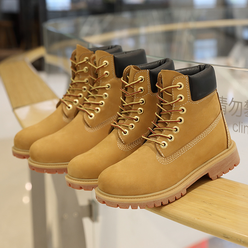 Botas de cuero genuino de lujo para hombre, botas de invierno para hombre, botas de nieve de tobillo con cordones, botas de piel de vaca de primera capa a prueba de agua amarillas zapatos - 4