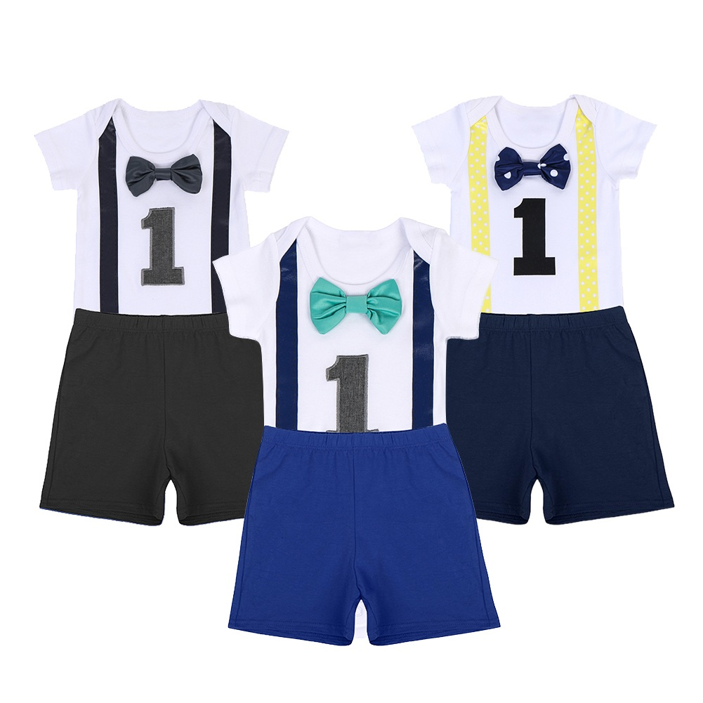 Baby Birthday Outfit for Smash The Cake Party 1st Boy Girl Clothes Cute 2pcs Set Clothing