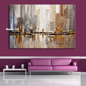 100% Hand paintedModern Nordic Abstract Posters and Fashion Gold Art Canvas Painting Wall Pictures for Living Room Decor Cuadros