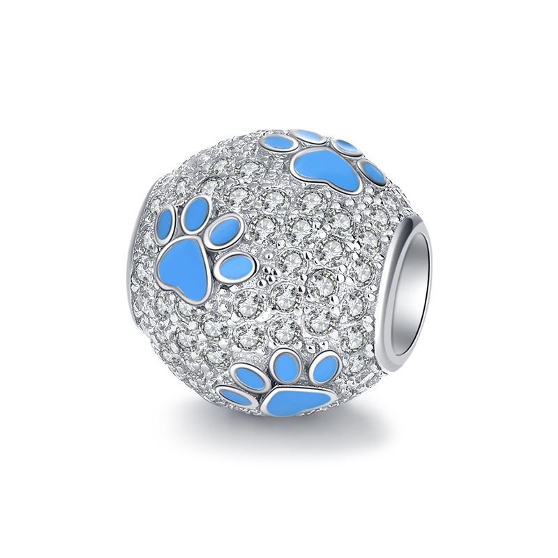 XiaoJing New fashion 925 Sterling Silver Animal Dog Footprints Blue Enamel With CZ Charm Beads Fit Pandora Bracelets Jewelry in Beads from Jewelry Accessories