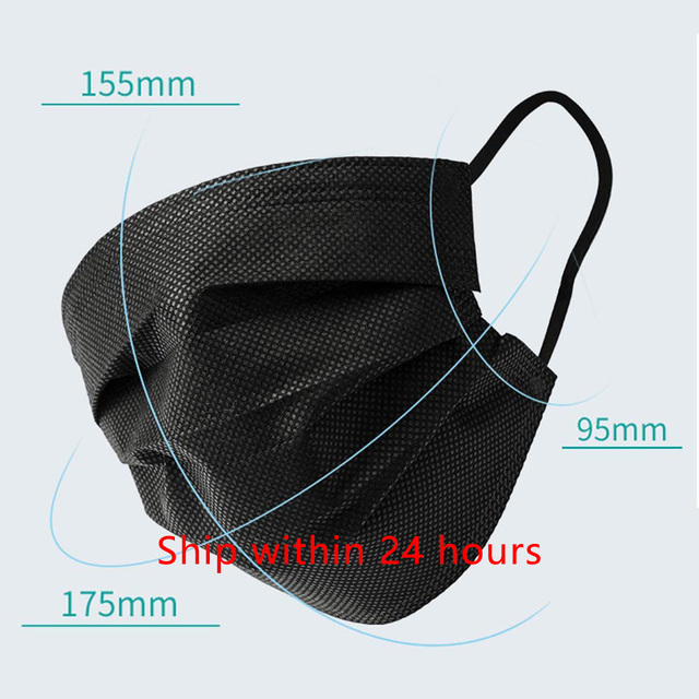 20/50/100pcs Black Mouth Face Mask 3 Layers Activated Bamboo Carbon Prevent Anti-Dust Bacteria Repeatability Civil Mask Mouth 1