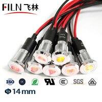 Filn 14 ミリメートルパネル穴 led ライト車 applicance シンボルインジケータライト 24v led 赤緑のインジケータライトワイヤー -
